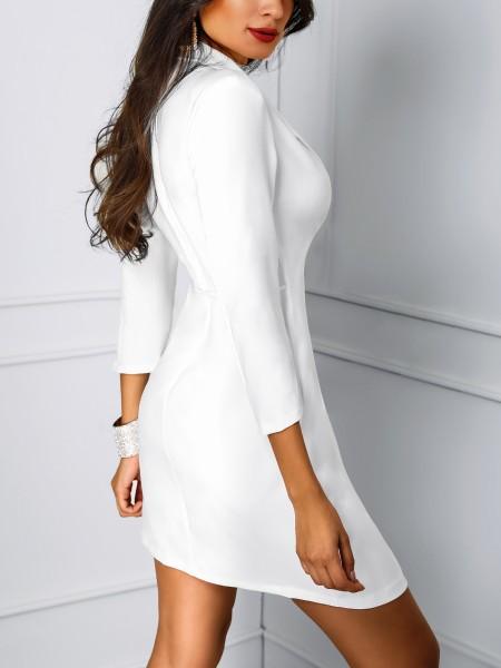 Solid Deep V Wrapped Blazer Dress