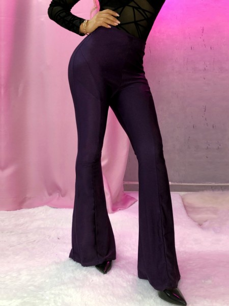 High Waist Wide Leg Solid Pants