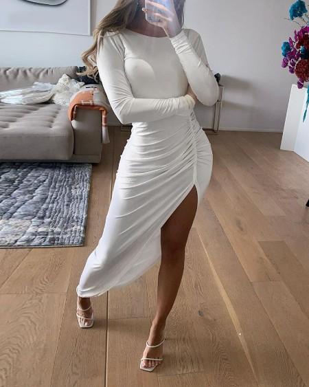 boutiquefeel / Plain High Slit Ruched Backless Maxi Dress