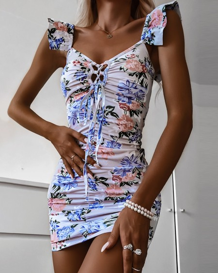 Floral Print Lace-up Ruched Bodycon Dress