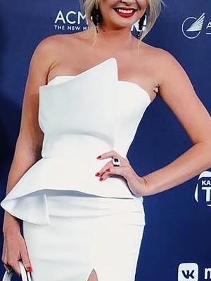 Strapless Fold Front Slit Side Bodycon Dress