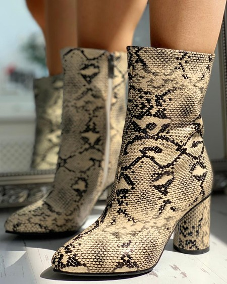 boutiquefeel / PU Snakeskin Chunky Heeled Boots