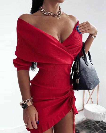 Plain Wrap Knit Drawstring Bodycon Dress