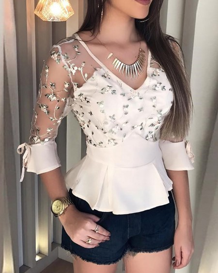Floral Embroidery Sheer Mesh Ruffles Blouse