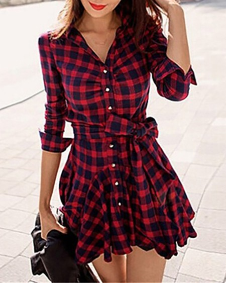 Plaid Ruffles Hem Button Front Shirt Dress