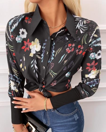 Floral Print Button Design Lantern Sleeve Shirt