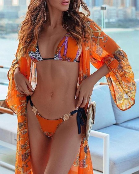 Print Metal Ring Bikini Set