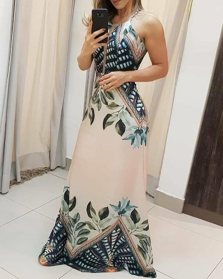 Tripical Print Spaghetti Strap Maxi Dress