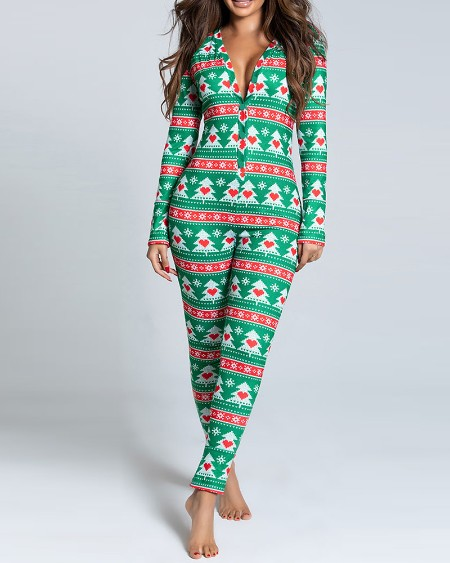 Christmas Tree Print Functional Buttoned Flap Adults Pajamas
