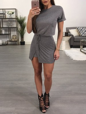 Stylish Tied Waist Casual T-shirt Dress