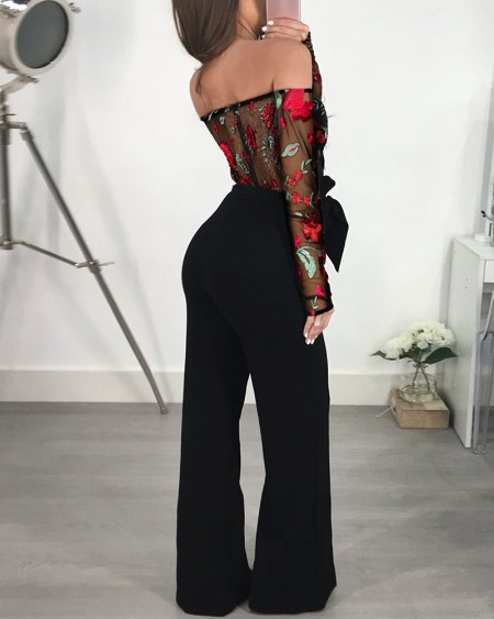 Off Shoulder Mesh Floral Embroidery Jumpsuit