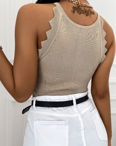 Plain Sleeveless Knitted Tank