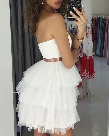 Sleeveless Layered Mesh Dress