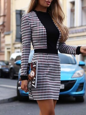 Houndtooth Patchwork Tweed sheath Dress