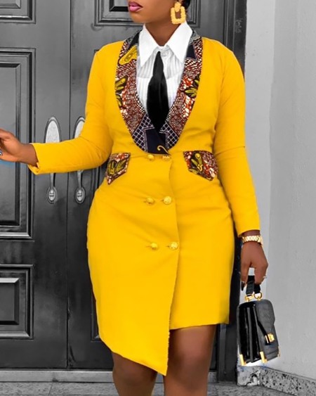 boutiquefeel / Colorblock Button Design Long Sleeve Blazer Dress