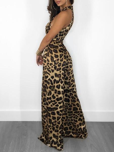 Leopard Print Sleeveless Slit Leg Jumpsuit
