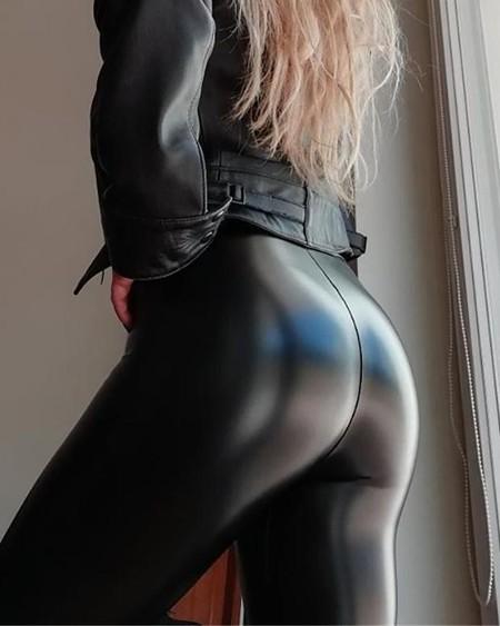 High Waist PU Leather Pants