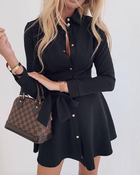 Button Up Ruffle Mini Dress