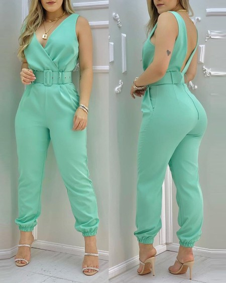 Plain Sleeveless Pocket Design Backless Jumpsuit