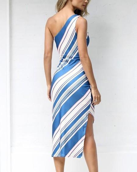 One Shoulder Contrast  Striped Irregular Dress