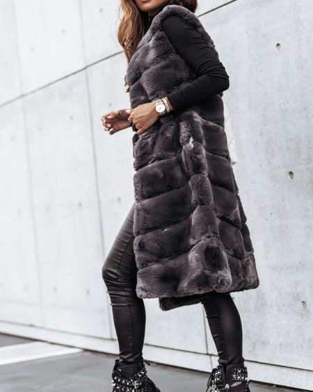 Plain Fluffy Faux Fur Longline Coat