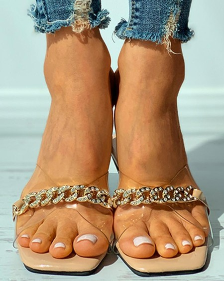 Chain Strap Clear Perspex Square Toe Flat Sandals