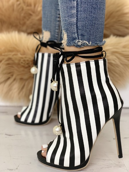 Stylish Beading Stripes Peep Toe Stiletto Heels