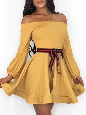 Off Shoulder Lantern Sleeve Mini Dress With Belt