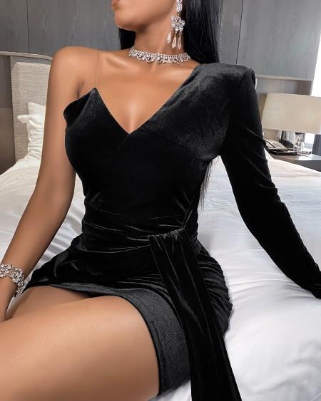 One Shoulder Velvet Bodycon Dress