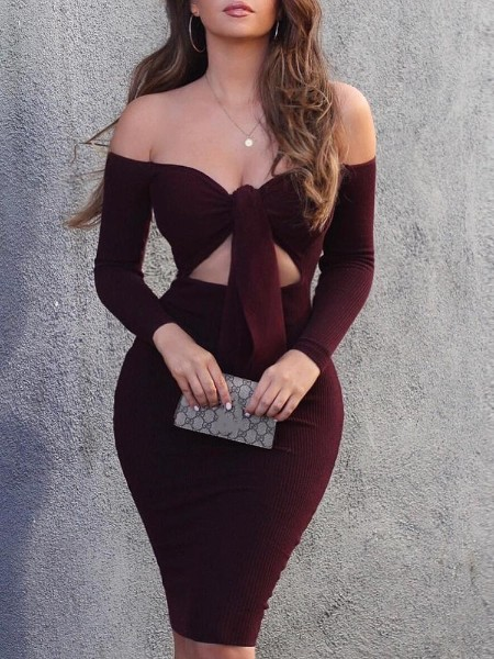 Knot Front Cut Out Off Shoulder Dress