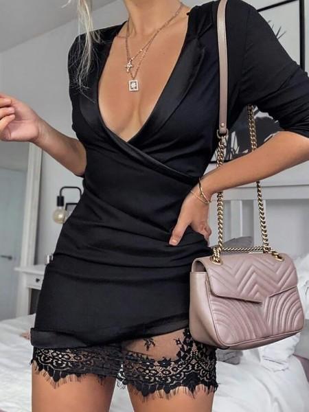 Mesh Lace Insert Wrap Dress