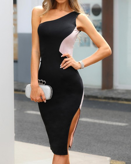 One Shoulder Colorblock Side Slit Dress