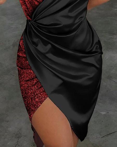 Spaghetti Strap Sequin Surplice Wrap Dress