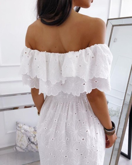 Off Shoulder Eyelet Lace-up Hollow Out Embroidery Dress