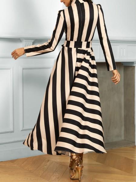 Striped Long Sleeve Irregular Dress