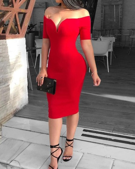Solid Off Shoulder Short Sleeve Bodycon Dress