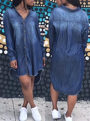 High-low Hem Casual Denim Dress