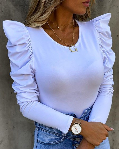 Solid Puff Sleeve Casual Top