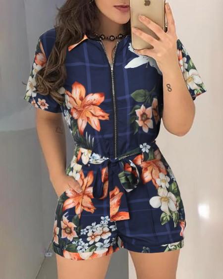 boutiquefeel / Floral Print Zipper Design Casual Romper