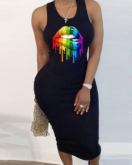 Lip Print Cut Out Sleeveless Dress