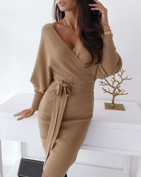 Surplice Wrap Batwing Sleeve Ribbed Dress