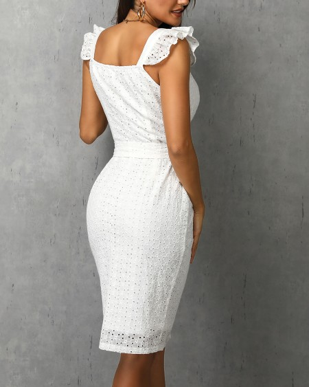 Hollow Out Ruffles Buttoned Dress