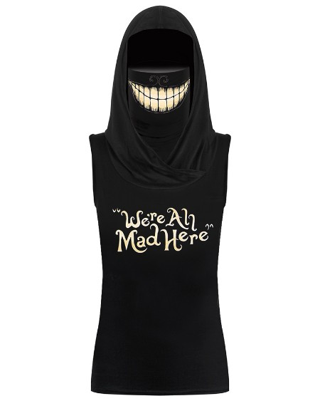 Smile Graphic Hooded Tank Top With Ear Loop Face Bandana