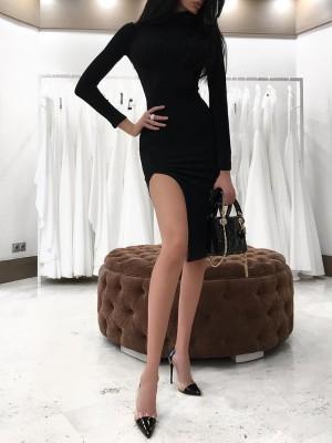 High Neck Side High Slit Slinky Bodycon Dress