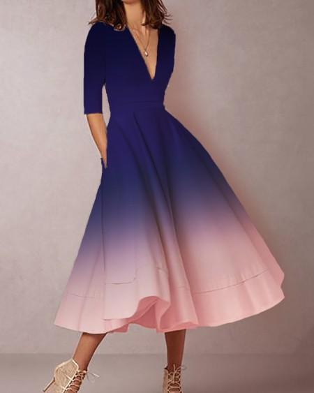 Plunge Tie Dye Print Dress