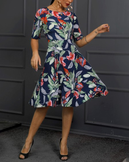 Tropical Print Ruched Design Midi Dress