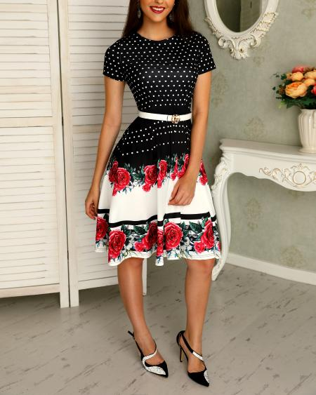 boutiquefeel / Floral & Dot Print Short Sleeve Pleated Dress