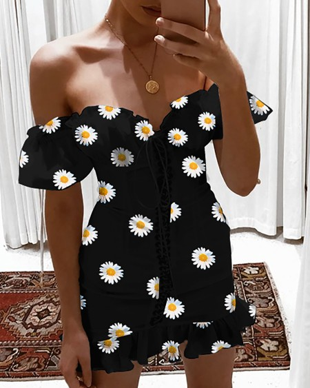 Daisy Print Off Shoulder Ruffles Dress