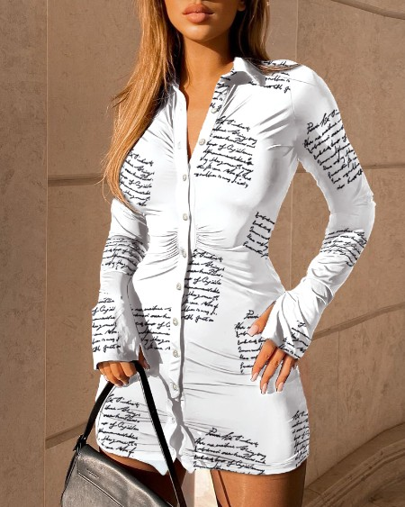 Letter Print Buttoned Bell Sleeve Shirt Dress