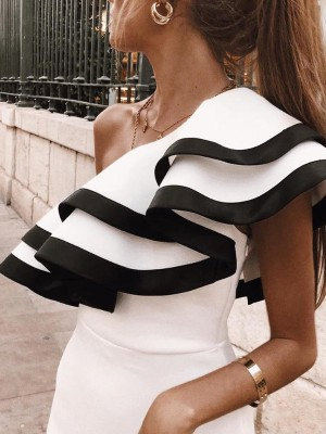Contrast Binding Ruffled One Shoulder Fishtail Dress